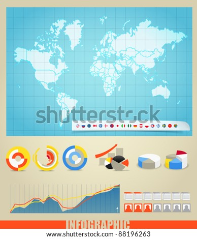 Infographics. World map, flags of different countries and diagrams. You can select any country by color - stock vector