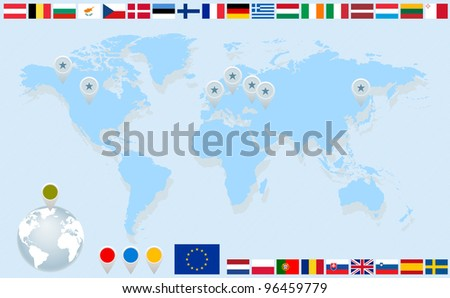 Infographics. World map, flags of EU countries and pointers. Vector eps8 illustration - stock vector