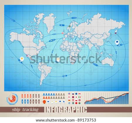 Infographics. World map with ship tracking - stock vector