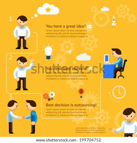 Inforgaphics about business outsourcing on yellow orange background - stock vector