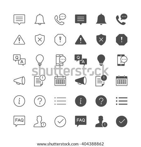 Information and notification icons, included normal and enable s - stock vector