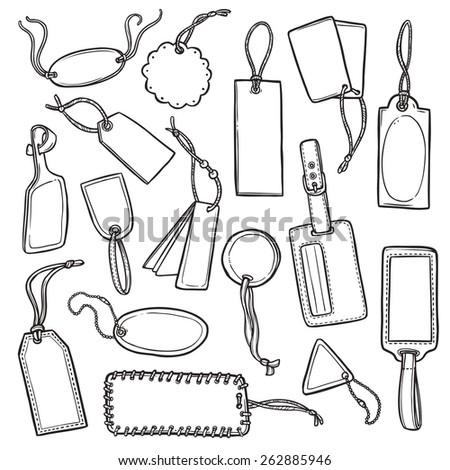 Information and promotion empty tags and sale labels sketch set isolated vector illustration - stock vector