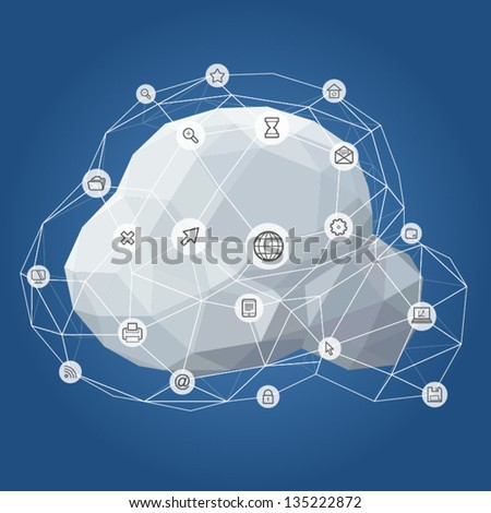 Information and Telecommunication Icon Cloud Network Vector Illustration - stock vector