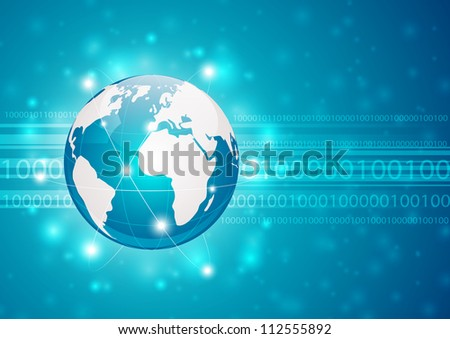 Information background with earth and binary code - stock vector