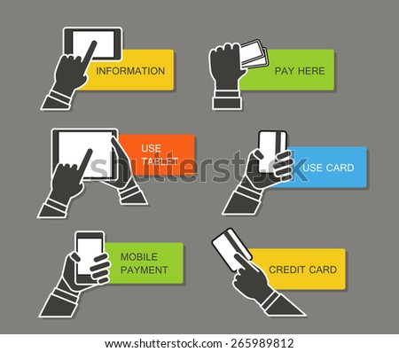 Information banners clip-art. Payment and get information. Simple line design - stock vector