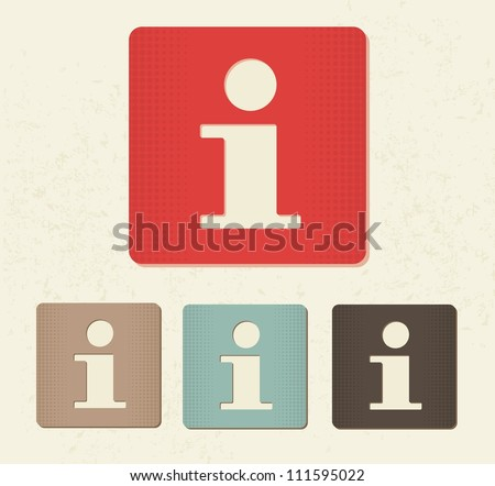 information buttons in retro colours - stock vector