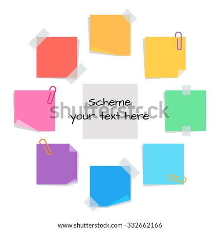 information circle from sticky note paper and clips, blank for information  - stock vector