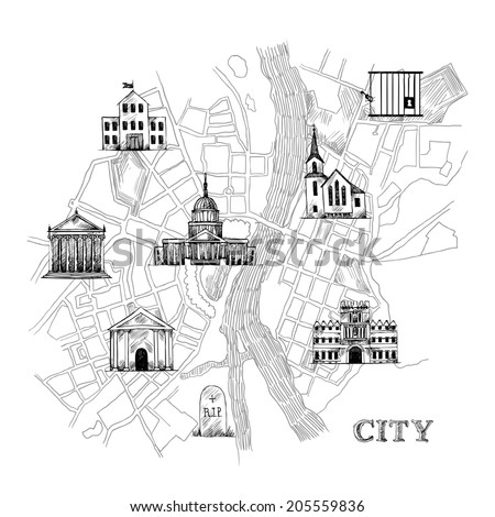 Information city map for travel navigation with icons of school prison church bank theater university museum vector illustration - stock vector