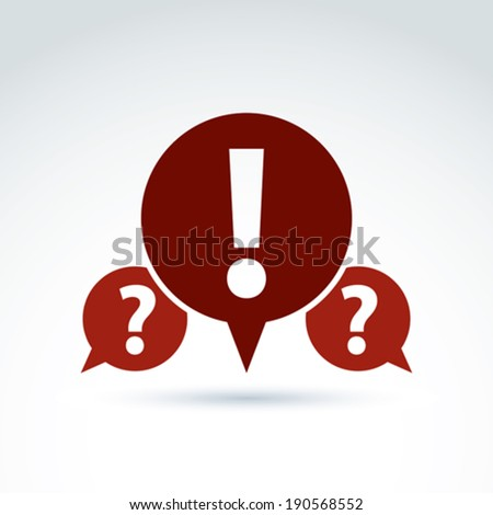 Information collecting and exchange theme icon, dialog speech bubbles, vector conceptual unusual symbol for your design. - stock vector