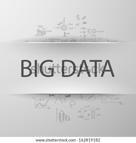 Information concept: inscription BIG DATA with formulas on the background - stock vector