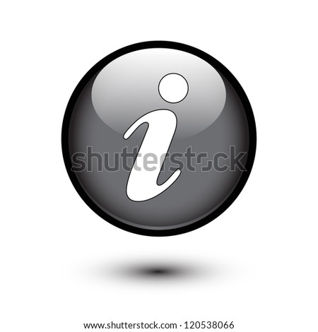 Information icon on black button - stock vector
