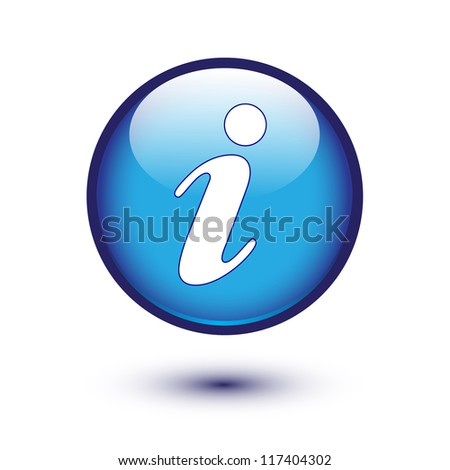information icon on blue button - stock vector