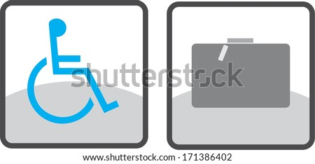 Information icon, pointer, dart, direction, way, route, course, movement, heading, luggage, baggage - stock vector