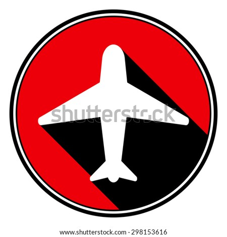 information icon - red circle with black outline and white airplane with stylized black shadow