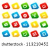 Information icons on colored cut square buttons. Image contains transparency - you can put it on every surface. 10 EPS - stock vector