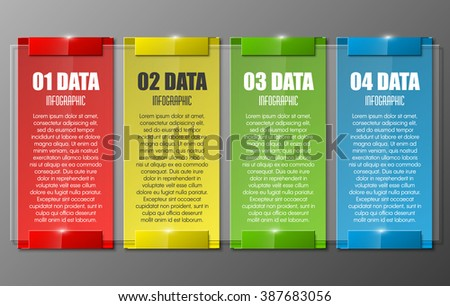 Information infographic statistic vector presentation. Graphic composition for your business presentations. Four glossy strip for your annotations. Four color sticker for registration of proposals - stock vector