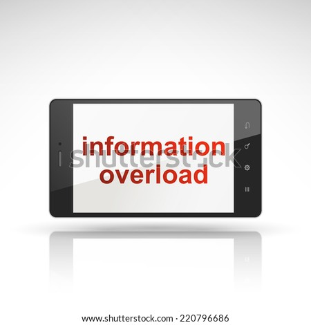 information overload words on mobile phone isolated on white - stock vector