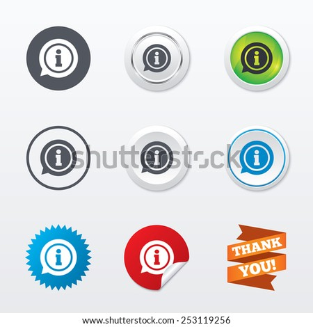 Information sign icon. Info speech bubble symbol. Circle concept buttons. Metal edging. Star and label sticker. Vector