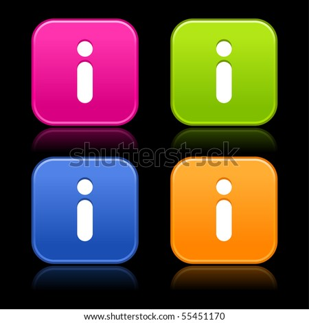 Information sign on web 2.0 internet buttons. Colored smooth rounded shapes with reflection on black background - stock vector