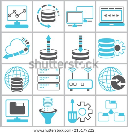 information technology and network icons set - stock vector