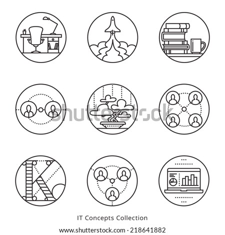 Information Technology and Social Networks conceptual business icons. Vector graphics set. Logo templates. - stock vector