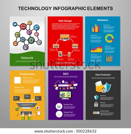 Information technology infographic elements. IT background. Brochure template. Set of flyer design template. - stock vector
