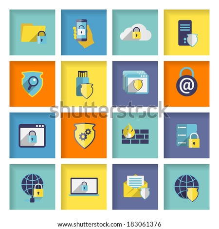 Information technology security flat icons set of cloud network connection firewall isolated vector illustration - stock vector