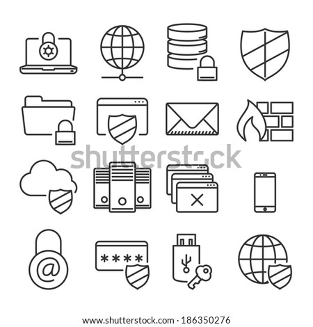 Information technology security icons // Plain line // isolated vector illustration - stock vector
