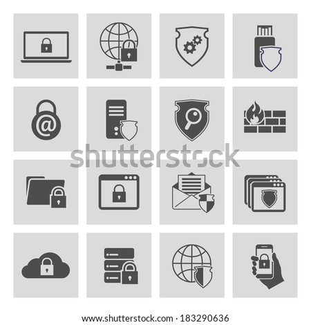 Information technology security pictograms collection of computer and online safety isolated vector illustration - stock vector