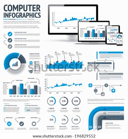 Information technology statistics infographic elements template vector EPS10 illustration. - stock vector
