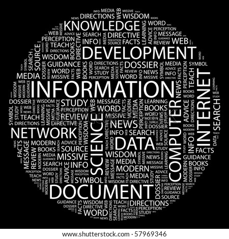 INFORMATION. Word collage on black background. Illustration with different association terms.