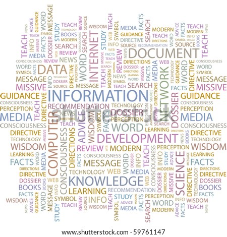 INFORMATION. Word collage on white background. Vector illustration. - stock vector