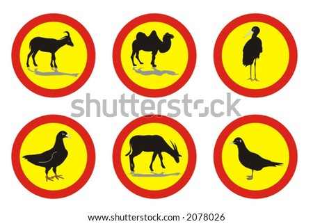 informational signs with various animals - vector illustrations - stock vector