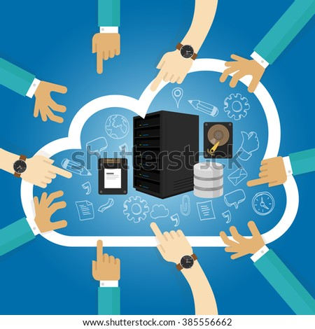 Infrastructure as a service shared hosting hardware in the cloud storage database server  - stock vector