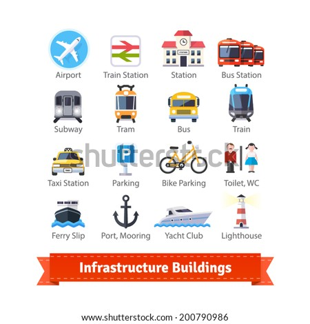 Infrastructure buildings flat icon set. Road and water city transportation stations and parking signs. For use with maps and internet services interfaces. EPS 10 vector. - stock vector