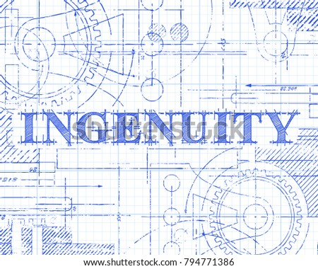 Ingenuity sign and gear wheels technical drawing on graph paper background