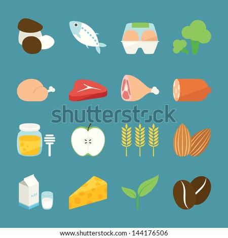 Ingredient icons, vector - stock vector