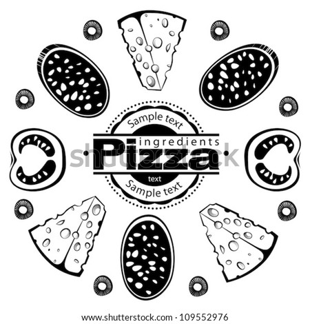 Ingredients for pizza with salami. Vector illustration in the engraving style, can be used for design labels and package - stock vector