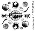 Ingredients for  vegetable pizza. Vector illustration in the engraving style, can be used for design labels and package - stock