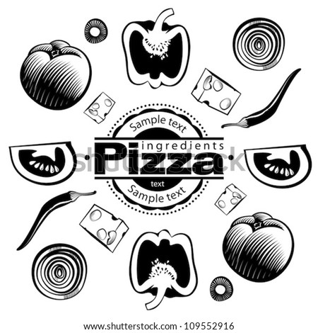 Ingredients for  vegetable pizza. Vector illustration in the engraving style, can be used for design labels and package - stock vector