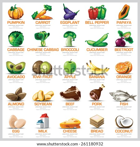 Ingredients Icons Set Vegetable Fruit And Meat For Nutrition Food Vector Design  - stock vector