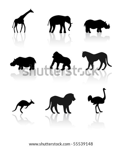 Inhabitants of savanna - stock vector
