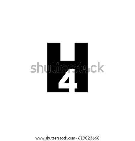 initial letter number logo h 4 stock vector royalty free 619023668