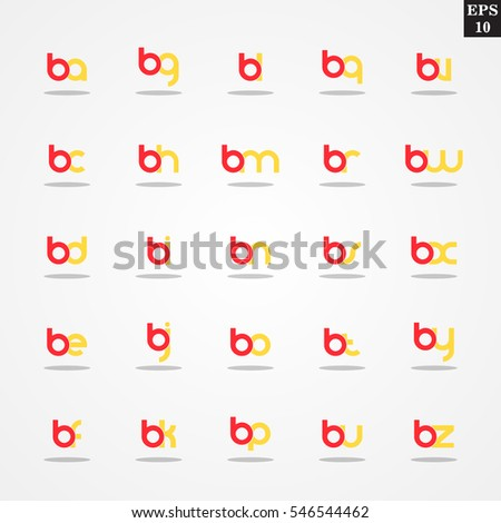 Initial letter B compilation from A to Z lowercase logo design template colorful
