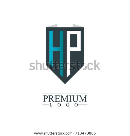 initial letter hp company design logo stock vector royalty free