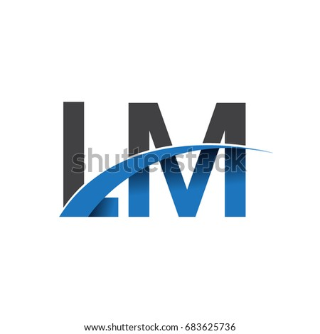 initial letter LM logotype company name colored blue and grey swoosh design. vector logo for business and company identity.