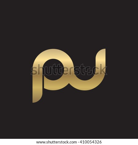 initial letter pu linked round lowercase logo gold black background