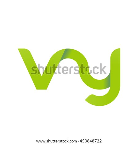 initial letter vy modern linked circle round lowercase logo green