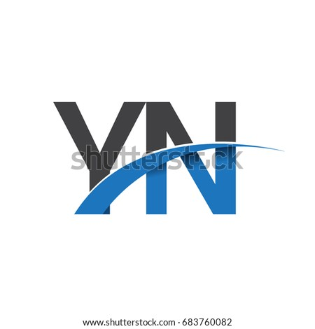 initial letter YN logotype company name colored blue and grey swoosh design. vector logo for business and company identity.