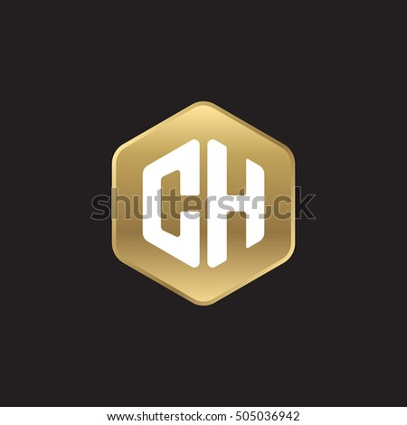 Initial letters CH rounded hexagon shape gold modern logo